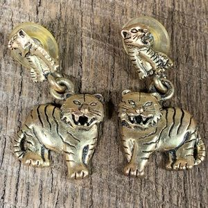 1995 BG Gold Tone Tiger Post Earrings